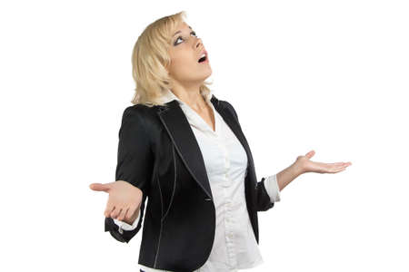 Portrait of surprised business woman on white background Standard-Bild