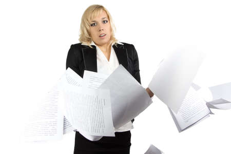 Portrait of dumbfounded businesswoman with white sheets photo