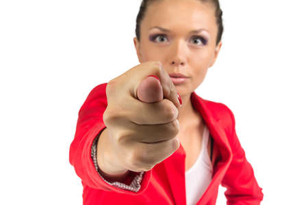 fico: Business woman in red jacket showing fico