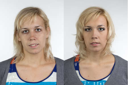 aging woman: Portrait of woman before and after make up - isolated photo