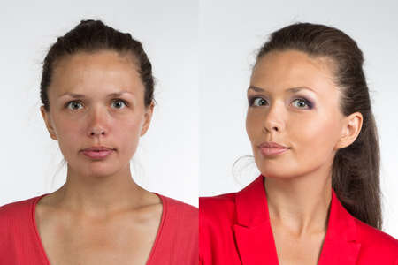 look after: Portrait of young woman before and after make up - isolated photo Stock Photo