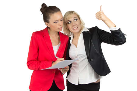 Two businesswoman discussing something on white background photo