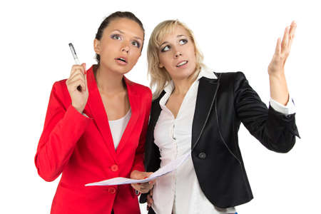 Two business lady discussing something on white background photo
