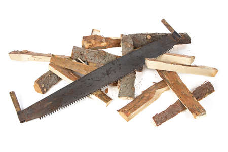 Photo of handsaw and woods on white background photo