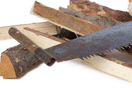 Image of handsaw and woods on white background photo