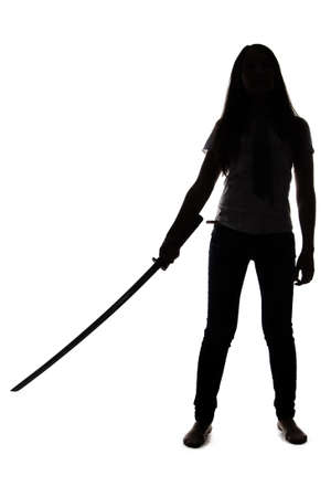 Silhouette of woman with sword on white background