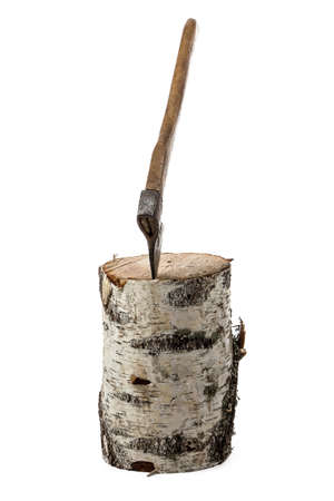 Photo of axe in the birch stump on white background photo