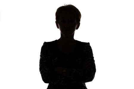 Silhouette of adult woman on white background