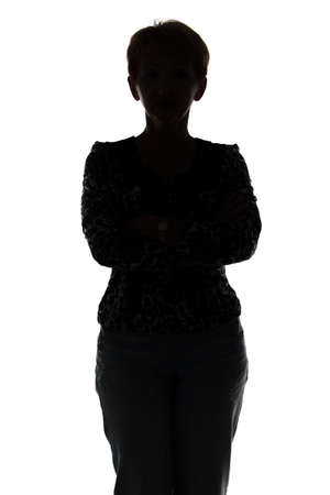 Photo of silhouette adult woman on white background