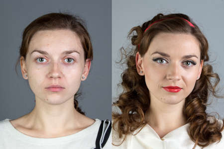aged: Portrait of young woman before and after make up - isolated photo Stock Photo