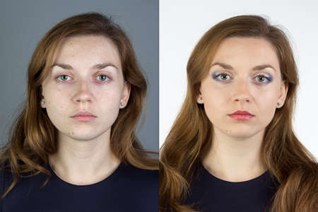 Photo of young woman before and after make up - isolated photo