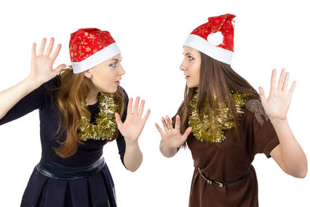 eavesdropper: Photo of two eavesdropper young women on white background