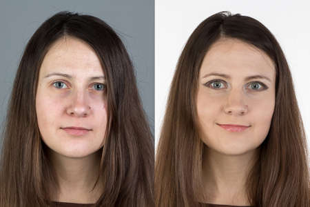look after: Photo of young woman before and after make up - isolated photo