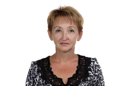 Photo of the old woman with short hair on white background