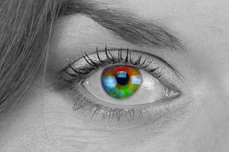 eye close up: Black and white photo of rainbow eye - close up Stock Photo
