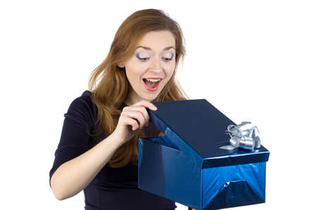 Image of young woman received the gift on white background photo