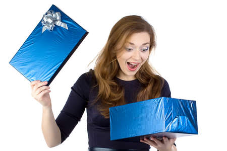 Image of surprised woman received the gift on white background photo