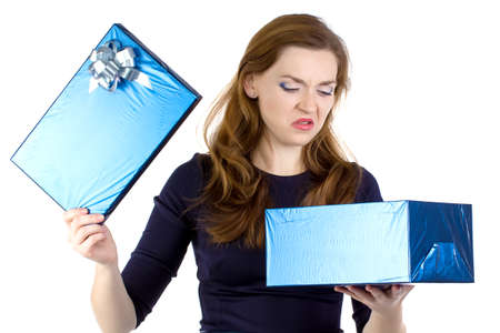 Photo of cranky woman received the gift on white background