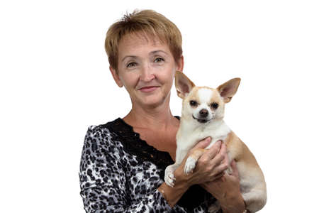 Photo of the old woman with the dog on white background photo