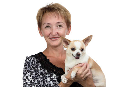 Image of the old woman with the dog on white background photo