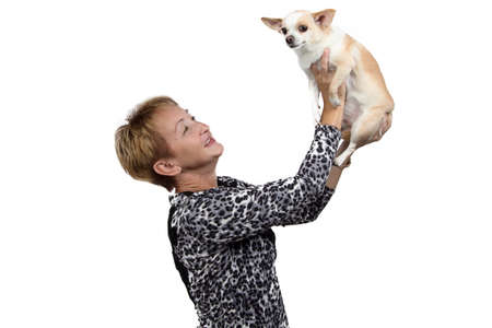 Photo of the happy old woman with the dog on white background photo