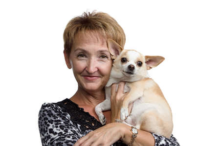 Portrait of the old woman with the small dog on white background photo