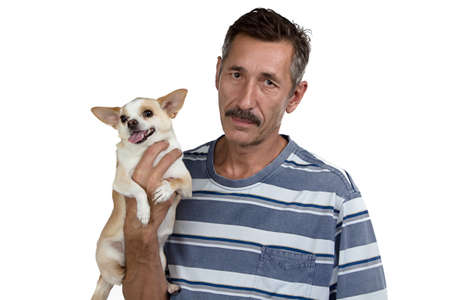 strong chin: Photo of the old man and his small dog on white background
