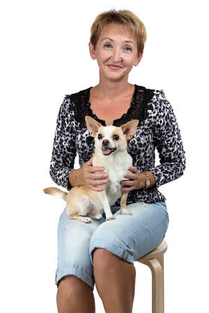 Image of the sitting old woman with the dog on white background photo