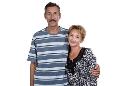 Photo of old woman and man on white background Stock Photo