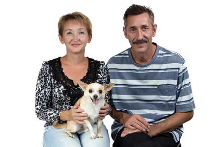 deference: Photo of the old man and woman with the dog on white background Stock Photo