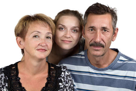 deference: Photo of the parents and daughter on white background