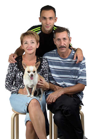 deference: Photo of the happy family with the dog on white background
