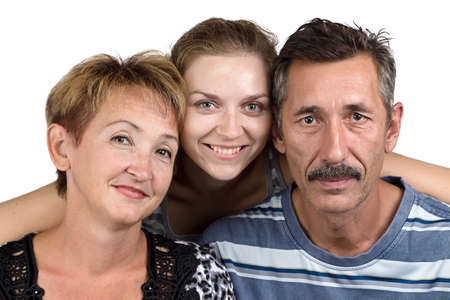 deference: Portrait of the stable family on white background Stock Photo