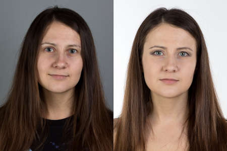 look after: Photo of young woman with make up - before and after Stock Photo