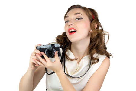 Image of the woman with retro camera on white background