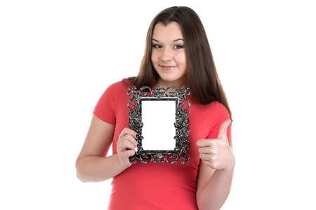 boring frame: Image of smiling teenage girl with photo frame on white background