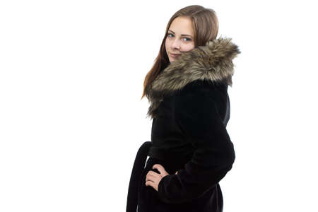 woman in fur coat: Image of the attractive woman in fur coat on white background Stock Photo