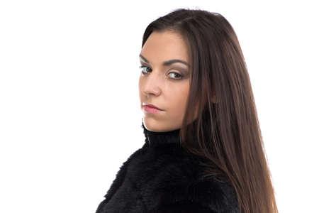 manteau de fourrure: Image of the cute brunette in fur coat on white background Banque d'images