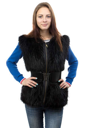 Image of the young woman in fur waistcoat on white background photo