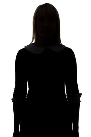 Silhouette of woman in dress on white background