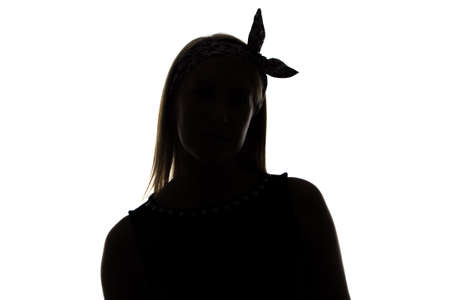 unnamed: Silhouette of bended woman with ribbon on white background