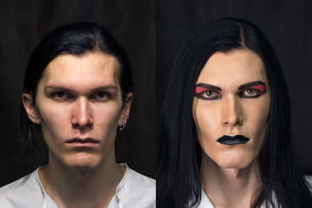 Photo of mans make up, before and after photo