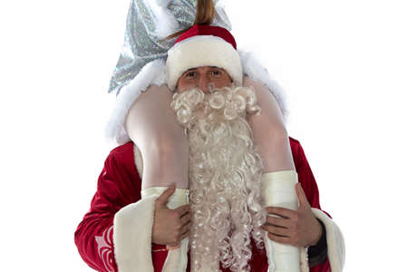 Photo of Santa holding a maiden on shoulders on white background photo