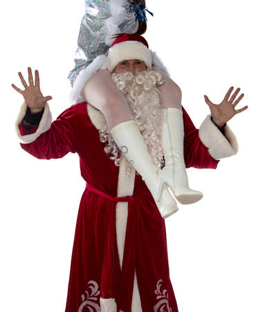 Image of Santa holding a maiden on shoulders on white background photo
