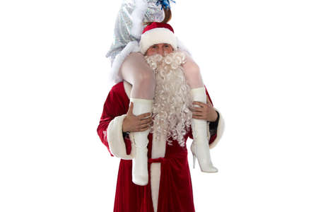 Portrait of Santa holding a maiden on shoulders on white background photo