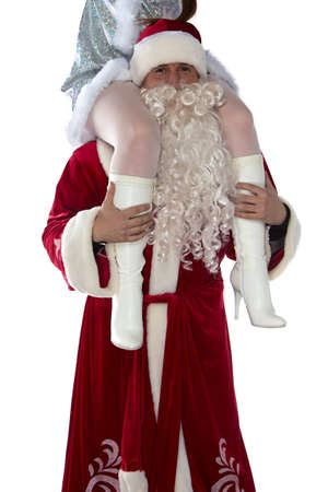 Portrait of fun Santa holding a maiden on shoulders on white background photo