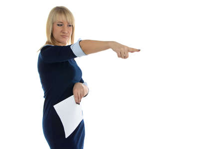 dissatisfaction: Photo of dissatisfaction business woman on white background