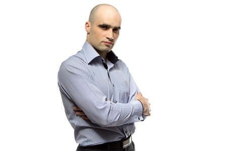 hairless: Photo of young hairless business man on white background