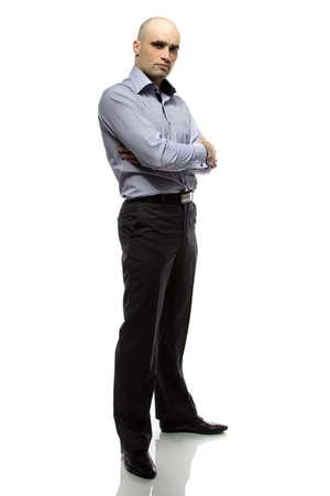 hairless: Photo of hairless business man full length on white background Stock Photo