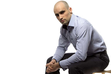 hairless: Photo of sitting hairless business man on white background